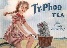 Vintage ad, Typhoo Tea. Little girl in red striped dress riding a bicycle. 1930s or 1940s