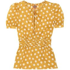 Tory Burch Ruth polka-dot cotton top (€88) ❤ liked on Polyvore featuring tops, blouses, shirts, yellow, saffron, puff sleeve blouse, polka dot blouse, ruffled shirts blouses, loose shirts and yellow blouse