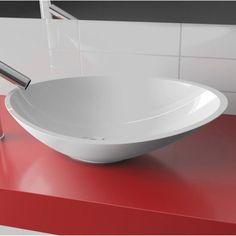 Vasque à poser résine de synthèse l.56.4 x P.32.3 cm blanc Shila