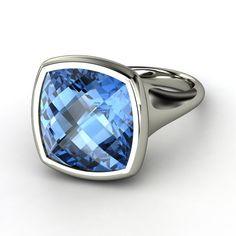 Checkerboard Cushion Pavilion Blue Topaz Sterling Silver Ring | Pure Cushion Bezel Ring | Gemvara