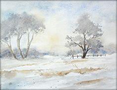 Winterimpressionen - Aquarell - 24 x 32 cm - Original