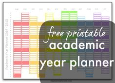 Free printable to download today. Print off and stick on the wall or the front of your home file/school folder for easy viewing of the year as a whole. Mark holidays etc... easily