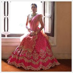 Trending Lehenga Hemlines To Consider For Your Wedding Lehenga Pink Lehenga, Bridal Lehenga, Bridal Gowns, Wedding Dresses, Zardozi Embroidery, Floral Embroidery, Wedding Saree Blouse, Red Gowns, Bridal Portraits