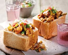 Bunny Chow!! Can the name get any cuter? It's a South African dish of hallowed-out bread filled with some sort of curry. This is a veg curry.  The thought of it is both saliva- and sleep-inducing
