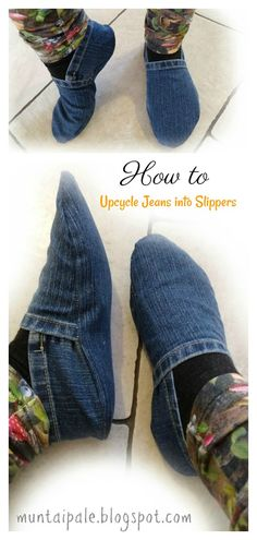 DIY Old Jeans Slippers Sewing Patterns Free, Free Sewing, Pattern Sewing, Denim Quilt Patterns, Clothes Patterns, Dress Patterns, Free Pattern, Sewing Clothes, Diy Clothes