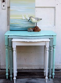 I love the nesting tables - Pretty FAT painted nesting tables using Pistachio, Ocean Spray & Warm White.