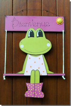 La Grenouille sur la balançoire ... - Loisirs créatifs ... Preschool Crafts, Fun Crafts, Diy And Crafts, Crafts For Kids, Arts And Crafts, Wood Crafts, Paper Crafts, Wood Animal, Cute Frogs