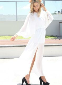 White Longer Lengths Dress - White Chiffon Maxi Dress http://www.ustrendy.com/store/product/80359/white-chiffon-maxi-dress-with-high-slits-batwing-sleeves