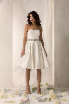 2012 Cool Strapless Sash / Ribbon Beading Satin Beach Knee-length Bridal Gown
