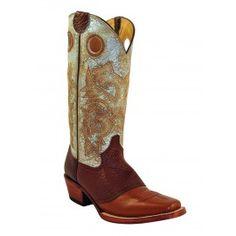 Ferrini Ladies Cognac/Distressed Blue Cowhide/Bison Saddle Vamp Boots D-Toe 82871-02