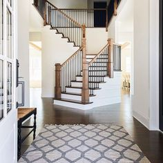 33 Ultimate Farmhouse Staircase Decor Ideas And Design - Staircase Wall Decor, Staircase Remodel, Staircase Design, Grand Staircase, Staircase Banister Ideas, Iron Staircase Railing, Banisters, Up House, House Stairs