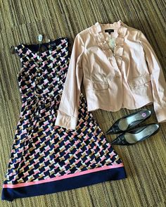 Day to night, winter to spring, or work to play - this outfit is all about being chic and versatile!  Dress: size 10, $40 Jacket: size 10, $25 Black pumps: size 8, $15 Necklace: $12  Call 314-918-0575 to purchase.