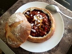 And the spicy buffalo chili is ready. Served in a homemade #bread bowl. Happy Sunday! #justchilling #lifeisgreat