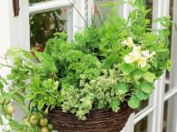 Create a gorgeous basket display with herbs and vegetable plants using these ideas from HGTV Gardens.
