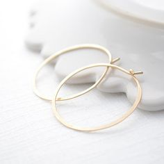 Hammered Gold Hoops by Olive Yew