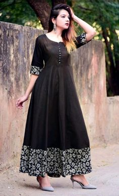 Stylish Dresses, Simple Dresses, Casual Dresses, Frock Fashion, Fashion Dresses, Simple Gown Design, Kalamkari Dresses, Stitching Dresses, Long Gown Dress