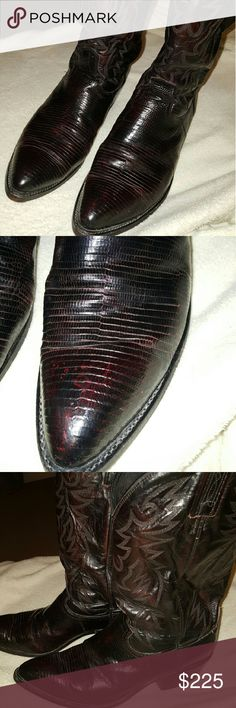Men's  Tao Lizard cowboy boots Gorgeous  Tao Lizard ,  black cherry size 11 425$ new.   seamless Dan Post Shoes Heeled Boots