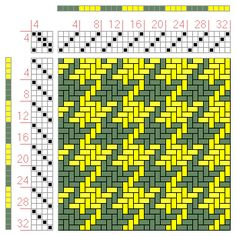 Houndstooth 4 x 4 (2 x colours for both warp and weft)
