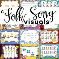 Find visuals to go along with your favorite folk songs to help teach rhythm and melodic concepts in elementary vocal music class. Preschool Music, Music Activities, Teaching Music, Music Lesson Plans, Music Lessons, Piano Lessons, Music Classroom, Music Teachers, Classroom Ideas