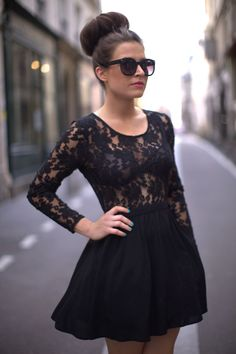 Lace long sleeve top with matching skirt. | I should get a skirt to match my lace top.