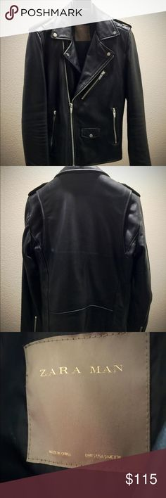 Zara Man Genuine Lambskin Leather Biker Jacket Zara Man, Genuine Black, Lambskin Leather Motorcycle/Biker Jacket.  Pre-owned, Size SMALL.  The jacket is about 4 months old and barely worn ever since I've gained a bit of weight. Jacket is too small and tight for me, which is why I'm selling it. Zara Jackets & Coats