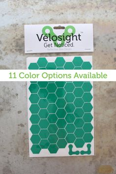 Honeydzzzcomb Velosight™ Reflective Bicycle Decals and Bike Helmet Stickers - 11 color options to match bike accessories