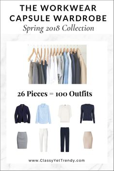 The Workwear Capsule Wardrobe: Spring 2018 Collection - There are 100 outfit ideas included from just 26 clothes and shoes, most you may already have in your closet! Also included is a capsule wardrobe creation guide, visual clothes, shoes and accessories guide with convenient shopping links for both regular and plus sizes, a checklist, travel packing guide and more!