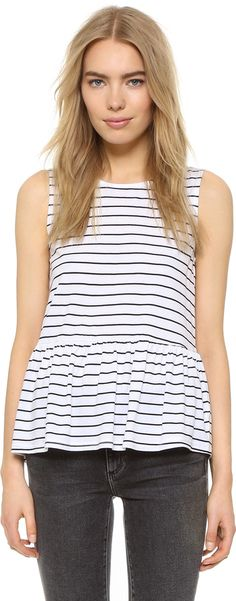 Love this striped peplum tank. cupcakes and cashmere Horizon Stripe Top with Ruffle