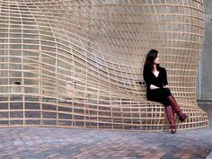 2009 Harvard GSD Performative Wood Studio (A. Menges). Steam-Bent Wood Lattice Morphology: Jeffrey Niemasz, Jon Sargent, Laura Viklund (Harvard).