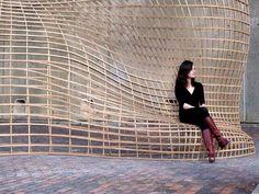 2009 Harvard GSD Performative Wood Studio (A. Menges). Steam-Bent Wood Lattice Morphology: Jeffrey Niemasz, Jon Sargent, Laura Viklund (Harvard).