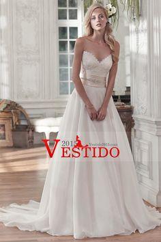 2016 Una línea vestidos de boda del Organza del amor con apliques Y Granos