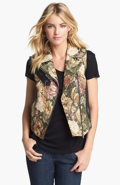 Two by Vince Camuto Faux Leather Inset Tapestry Moto Vest | Nordstrom