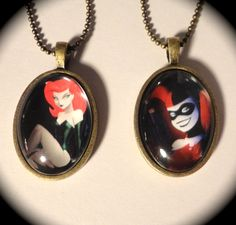 Harley Quinn or Poison Ivy Necklace. $11.00, via Etsy.