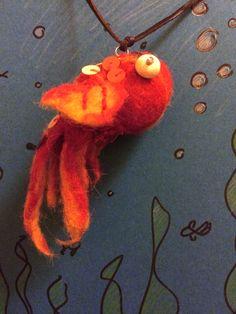 wet felted goldfish pendant
