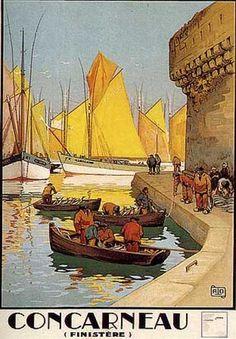"""Concarneau par Charles Allo ( 1930 ) .On retrouve souvent la même affiche intitulée """" Boston """" ! Il s'agit bien évidemment de Concarneau, en Bretagne.( A droite, la Ville Close )."""