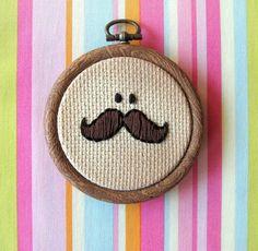 Mr. Moustache embroidered ornament from bubblyshnooks
