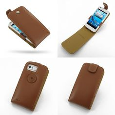 PDair Leather Case for Acer Liquid Gallant Duo E350 - Flip Top Type (Brown)