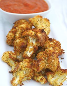Low Calorie Crunchy Cauliflower - This is a crunchy comfort food, made into a diet dish. I kept the calories to a minimum, so there is no cheese and they are baked, not deep fried. Just a little oil, lightly sprayed just before cooking. Healthy Cooking, Healthy Snacks, Healthy Eating, Cooking Recipes, Healthy Sides, Healthy Recipes For Kids, Cooking Dishes, Cooking Ingredients, Kitchen Dishes