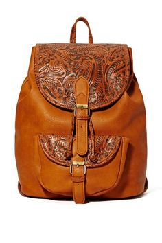 Rio grande backpack // faux leather backpack // tooled leather // boho // t Faux Leather Backpack, Leather Bag, Rio Grande, My Bags, Purses And Bags, Fashion Bags, Fashion Backpack, Accessories Shop, Fashion Accessories
