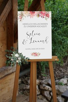 Welcome Sign Wedding Personalized with Two Wish Names Calligraphy Watercolor Flowers Boho Welcome Poster Digital File Place Cards, Place Card Holders, Wedding, Etsy, Wrapping, Wedding Favors, Perfect Wedding, Penmanship, Nice Asses