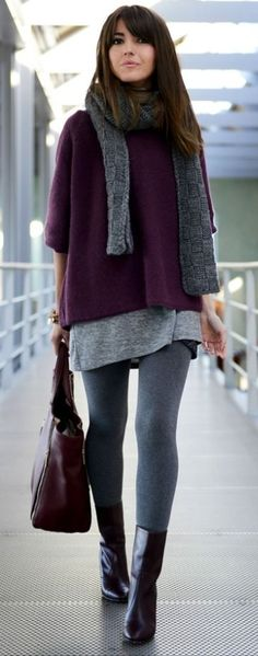 Burgundy and grey outfit. Leggings, tunic and sweater. Best street style ideas 2016.  Love the color combo and how comfy yet stylish this is.