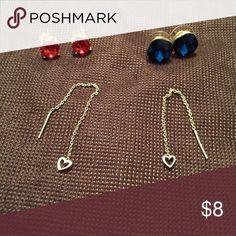 Set of 3 Earrings Pink & Blue Studs & Silver heart dangling earrings Jewelry Earrings