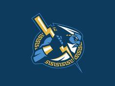 kris_bazen_tampa_bay_lightning_primary Nhl Logos, Hockey Logos, Sports Decals, Sports Logo, Typography Logo, Art Logo, Lightning Logo, Team Mascots, Delaware