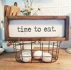 Farmhouse Kitchen Decor | Vintage Market and Grocery | Casual Farmhouse | Fixer Upper | Cottage Home | White Wash | Time To Eat | Handmade #kitchen #farmhouse #sign #timetoeat #diningroom #kitchen #rustic #eggs #farmhousestyle #farmhousedecor #framedsign #sign #affiliate