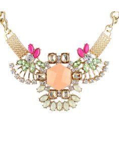 Collar cadena dorado diamante piedra amarillo 5.67