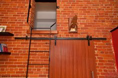CFT-202-BP Sliding Door Kit (Old Style Hangers) is used here in a Schoolhouse converted Loft (Hamilton, Ontario)