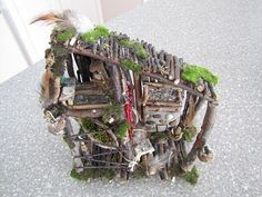 """2 story fairy house - inspiration for a future project with Josie & """"Frankie"""" Fairy Garden Houses, Hobbit Garden, Fairy Village, Miniature Fairy Gardens, Miniature Rooms, Miniature Houses, Little Gardens, Small World Play, Goodies"""