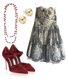 """""""lace dress"""" by natalia-souza-ramos on Polyvore featuring Manolo Blahnik, Lord & Taylor, Emanuel Ungaro and Chanel"""
