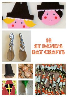 10 St David's Day crafts for kids including recipe for Welsh cakes, Welsh ladies bunting, Welsh lady peg dolls, Welsh paper hat craft, Welsh love spoon craft and a kitchen paper leek! Toddler Crafts, Crafts For Kids, Arts And Crafts, Toddler Play, Paper Crafts, Welsh Symbols, Welsh Lady, Welsh Love Spoons, Spoon Craft