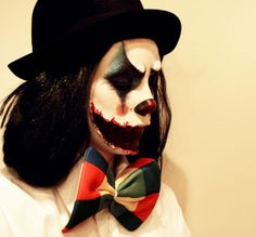 What I would do with the ripped mouth FX, just add a rainbow wig and make it a lady clown